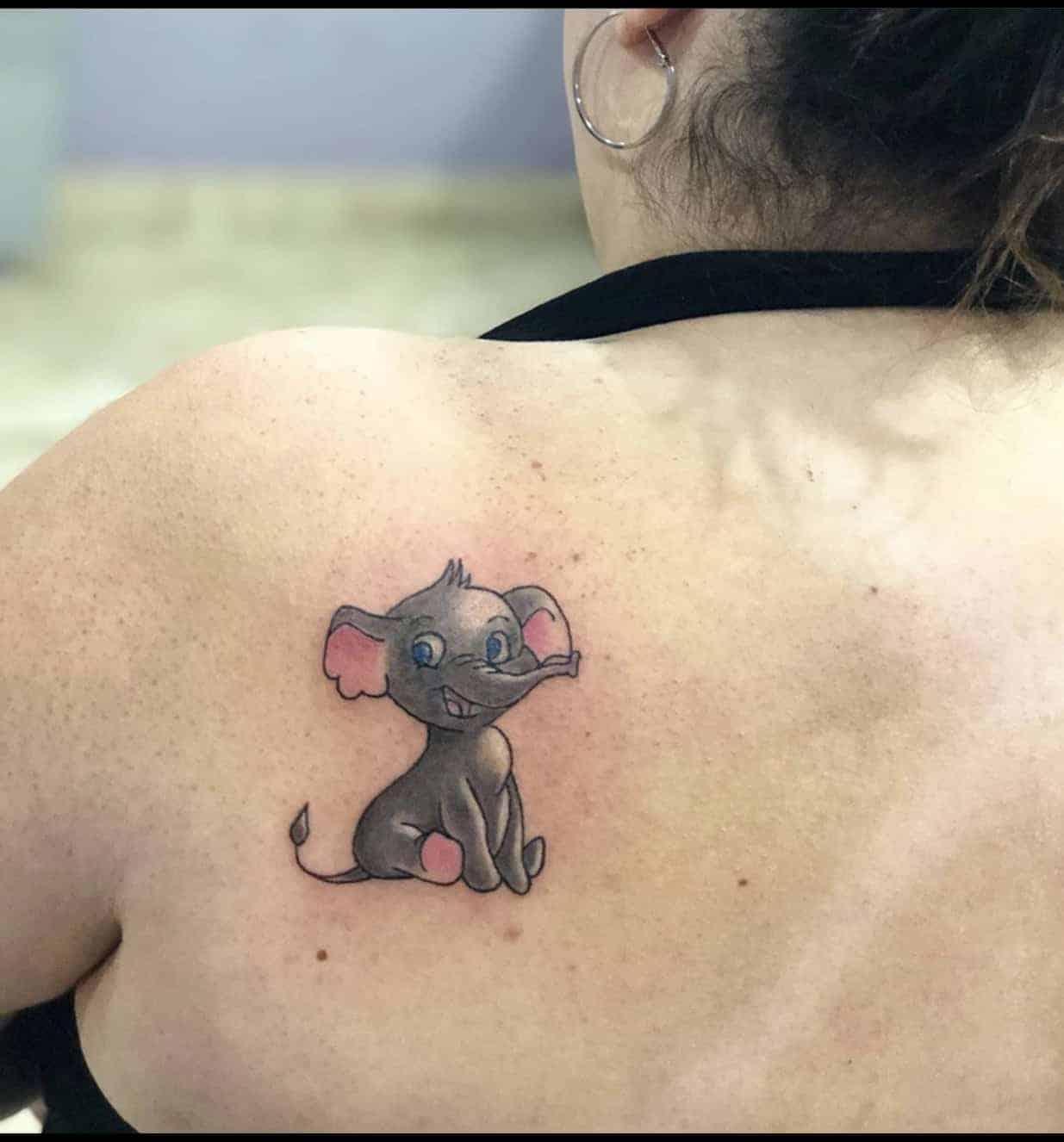 elephant tattoo on back shoulder