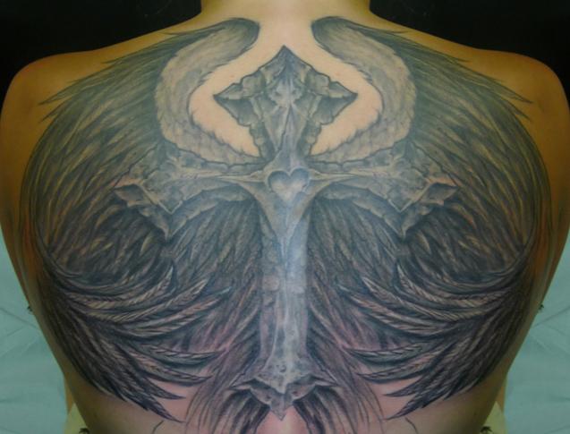 cross wings back tattoo