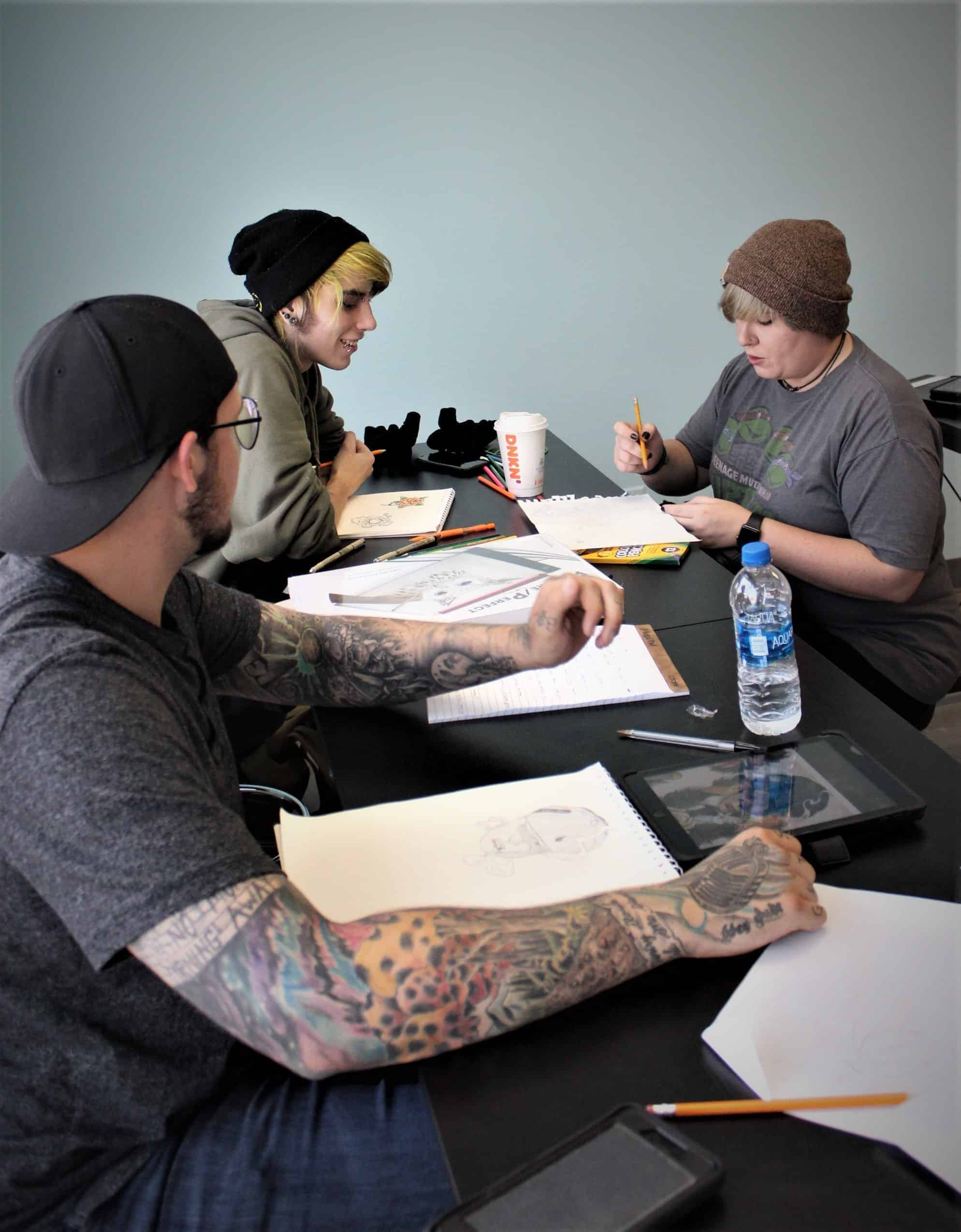 tattoo students in class